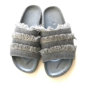 Joie Light Blue Denim Frayed Trim Slides Shoes